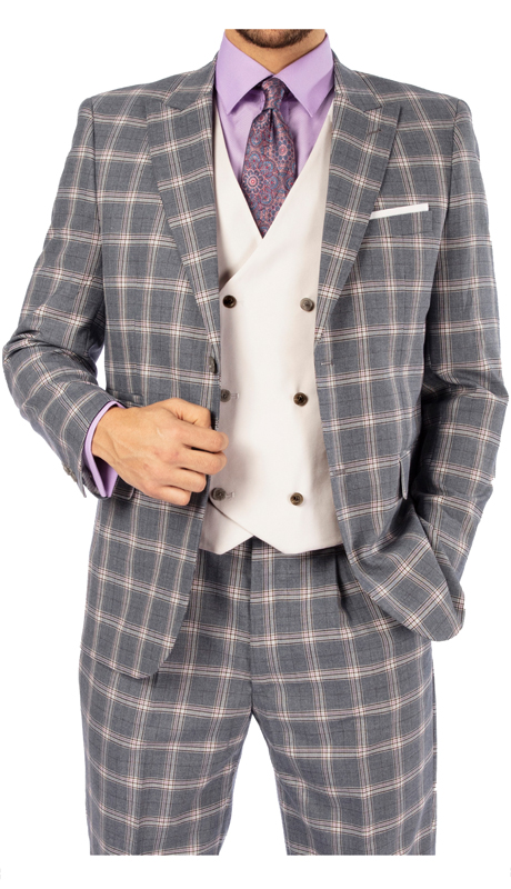Steve Harvey 119732-GC ( 3pc Vested Suit With White Vest, Super 140's )