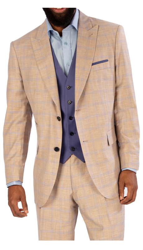 Steve Harvey 119734-TB ( 3pc Suit With Solid Blue Vest, Super 140's )