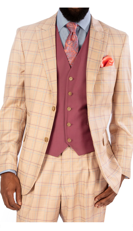 Steve Harvey 119735-PP ( 3pc Suit With Solid Raspberry Vest, Super 140's )