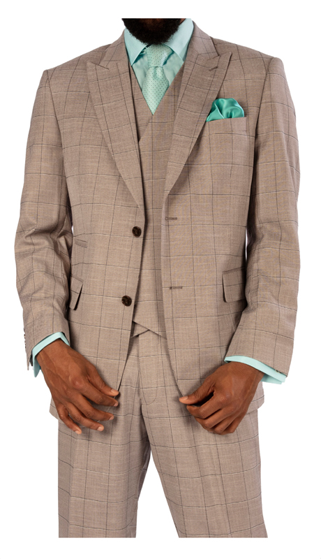 Steve Harvey 119736-GP ( 3 pc Vested Suit, Super 140's )