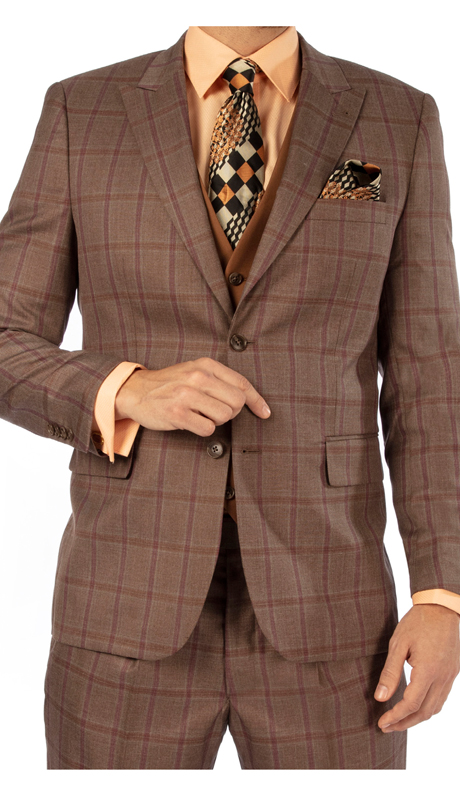 Steve Harvey 119738-TP-CO ( 3pc Vested Suit, Super 140's )