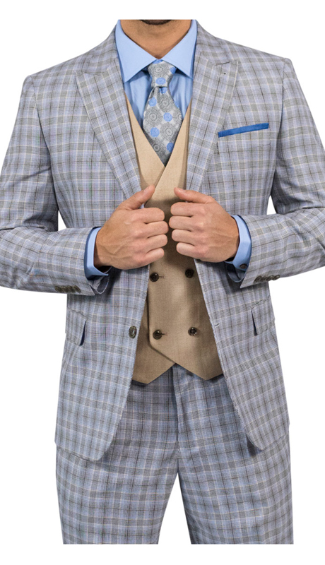 Steve Harvey 118710-BP ( 3pc Suit With Tan Vest, Super 140's )