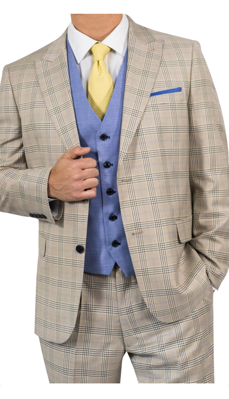 Steve Harvey 118713-TA-CO ( 3pc Suit With Blue Vest, Super 140's )