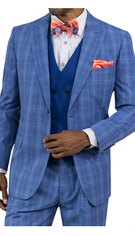 Steve Harvey 118715-BP ( 3pc Suit With Blue Vest, Super 140's )