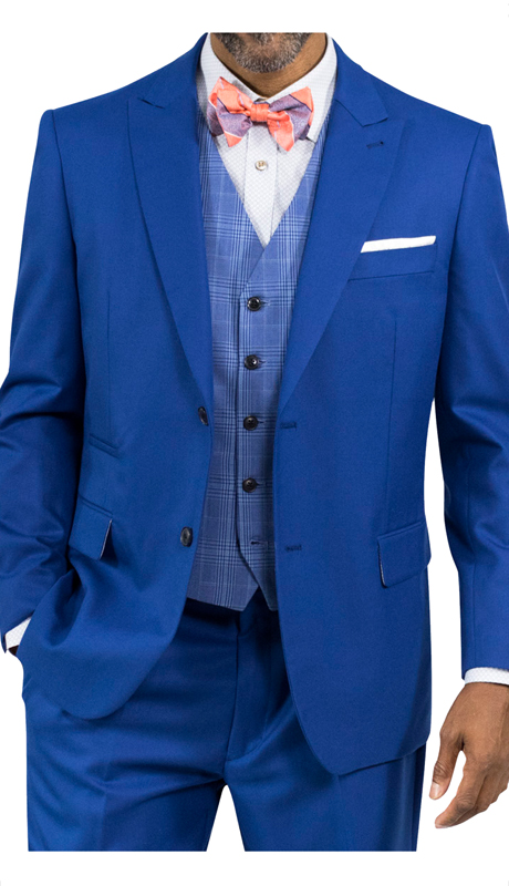 Steve Harvey 118716-BL ( 3pc Suit With Plaid Vest, Super 140's )