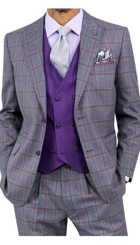 Steve Harvey 118718-GP ( 3pc Suit With Mauve Vest, Super 140's )
