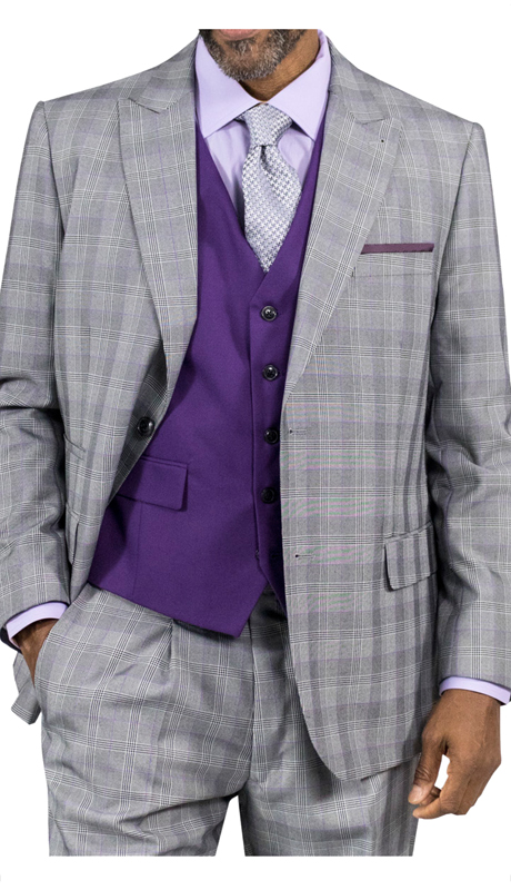 Steve Harvey 118719-GP ( 3pc Suit With Purple Vest, Super 140's )