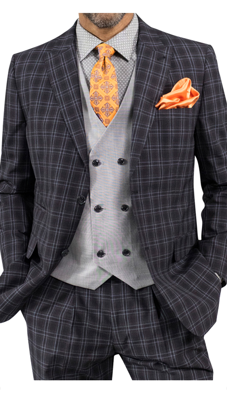 Steve Harvey 118720-BP ( 3pc Suit With Silver Vest, Super 140's )