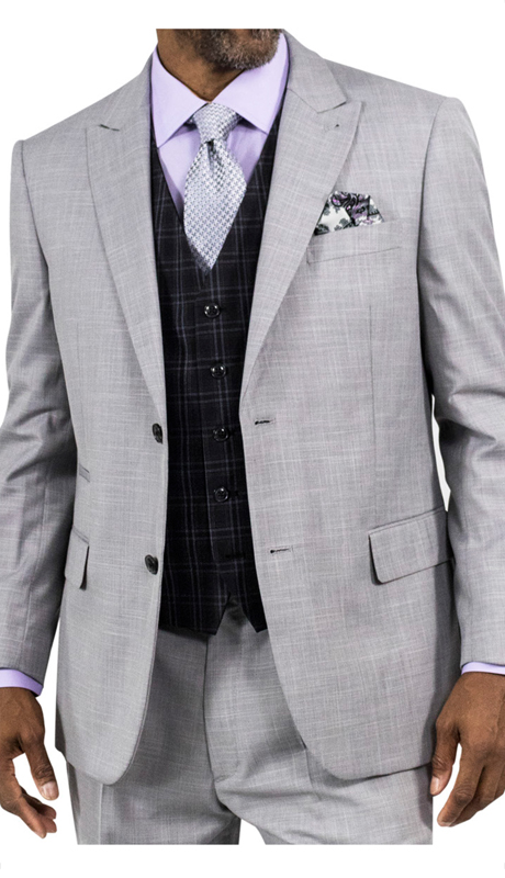 Steve Harvey 118721-GR ( 3pc Suit With Black Plaid Vest, Super 140's )