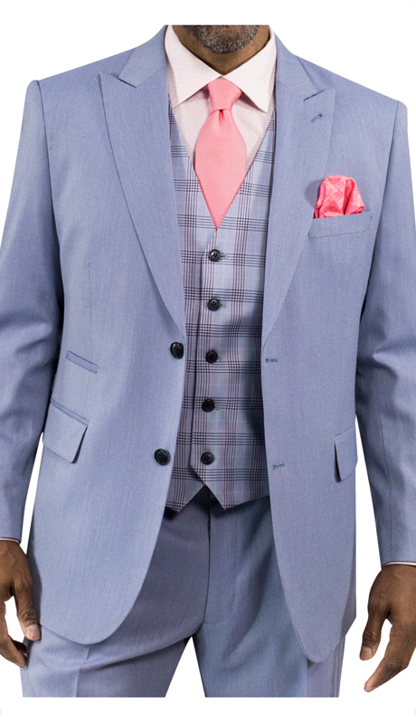 Steve Harvey 118726-LB ( 3pc Suit With Plaid Vest, Super 140's )