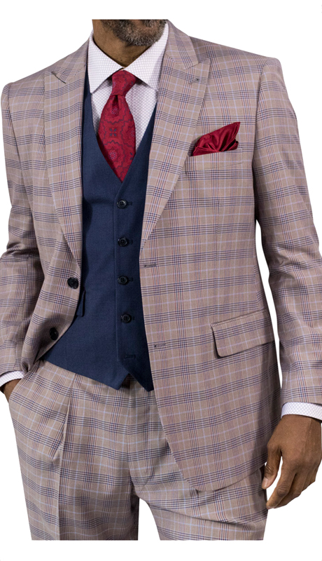 Steve Harvey 118727-TP ( 3pc Suit With Dark Blue Vest, Super 140's )