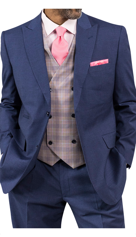 Steve Harvey 118728-DB ( 3pc Suit With Plaid Vest, Super 140's )