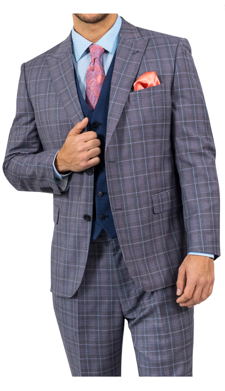 Steve Harvey 118729-GP ( 3pc Suit With Blue Vest, Super 140's )