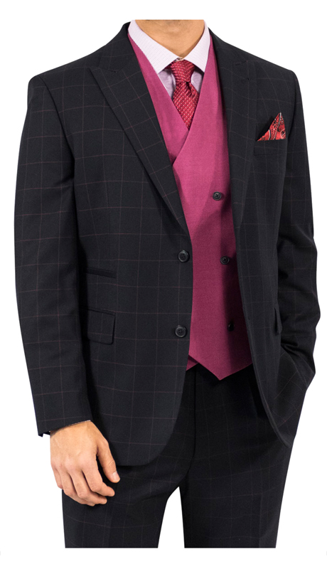 Steve Harvey 118730-BP-CO ( 3pc Suit With Raspberry Vest, Super 140's )