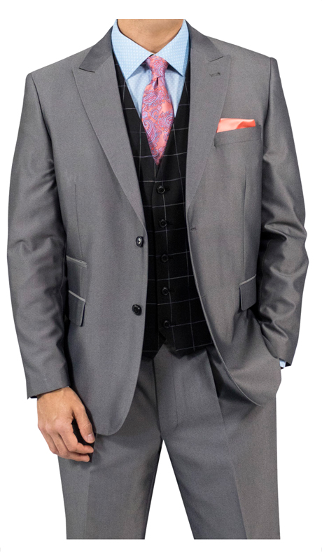Steve Harvey 118731-GR ( 3pc Suit With Black Plaid Vest, Super 140's )