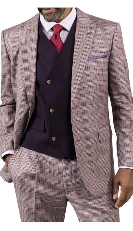 Steve Harvey 118732-BP ( 3pc Suit With Solid Vest, Super 140's )