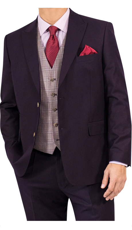 Steve Harvey 118733-EP ( 3pc Suit With Plaid Vest, Super 140's )