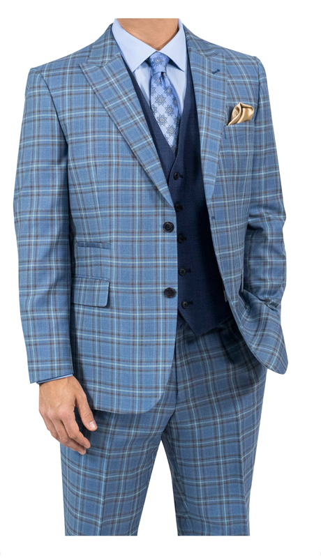 Steve Harvey 118734-LBP ( 3pc Suit With Solid Vest, Super 140's )