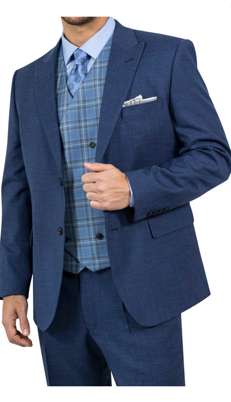 Steve Harvey 118735-BL ( 3pc Suit With Plaid Vest, Super 140's )