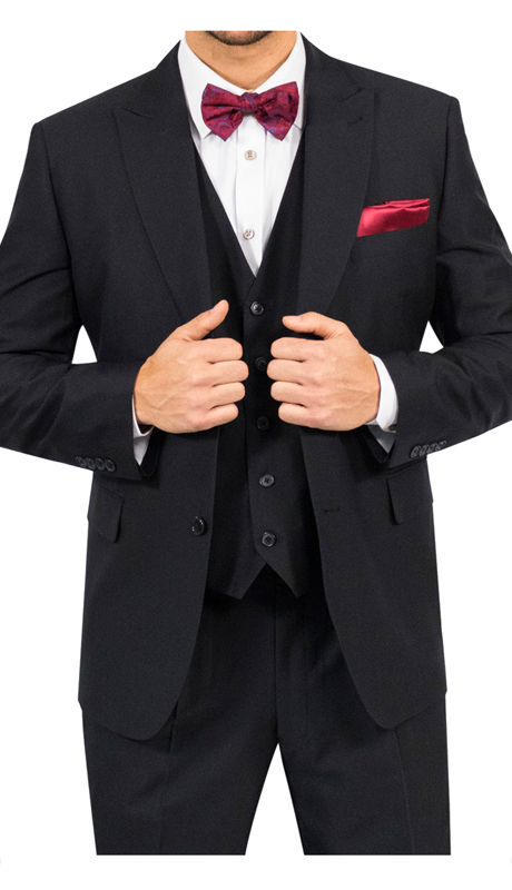 Steve Harvey 118758-BK ( 3pc Suit, Super 140's )