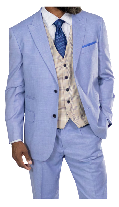 Steve Harvey 118714-LB ( 3pc Vested Suit, Super 140's )