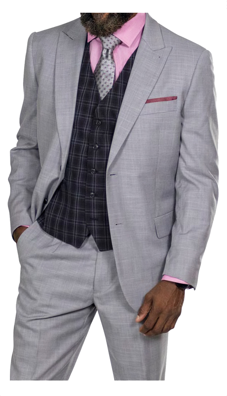 Steve Harvey 118721-GR ( 3pc Vested Suit, Super 140's )