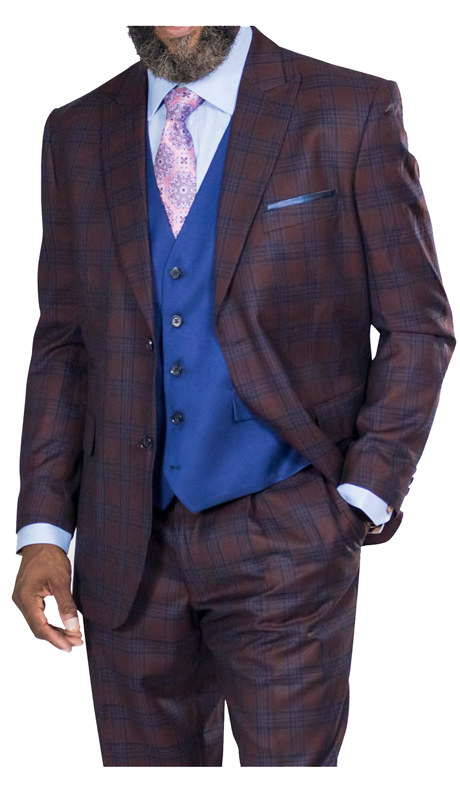 Steve Harvey 218856-BP ( 3pc Suit With Soild Vest, Super 140's )