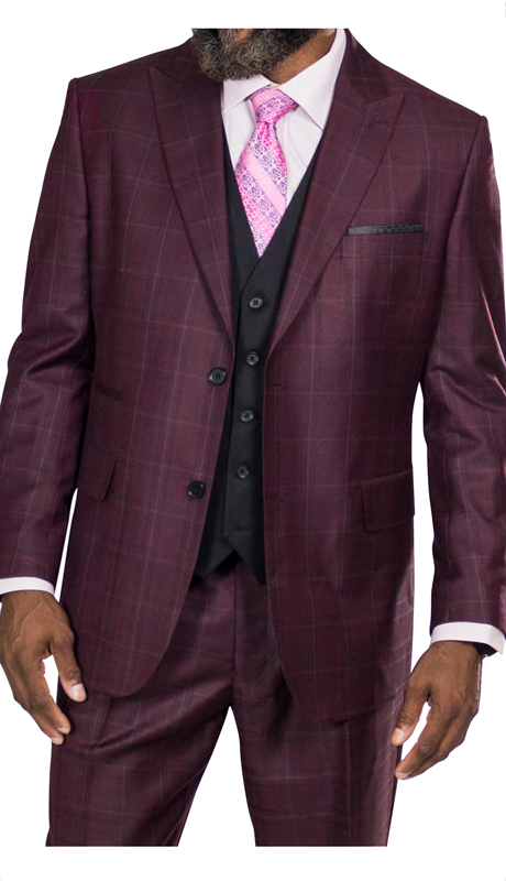 Steve Harvey 218857-MP ( 3pc Vested Suit Wth Solid Vest, Super 140's )
