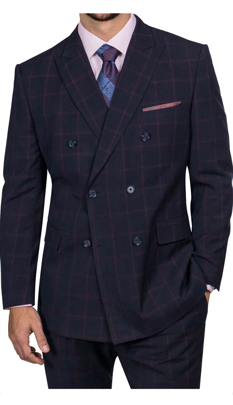 Steve Harvey 218860-DN ( 2pc Double Breasted Suit, Super 140's )