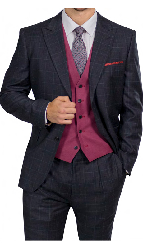 Steve Harvey 218861-CP ( 3pc Suit With Soild Vest, Super 140's )