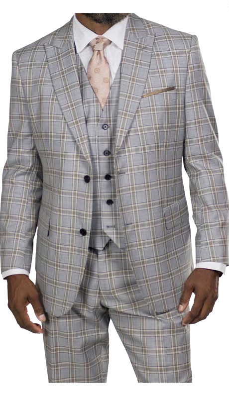 Steve Harvey 218864-GT ( 3pc Vested Suit, Super 140's )