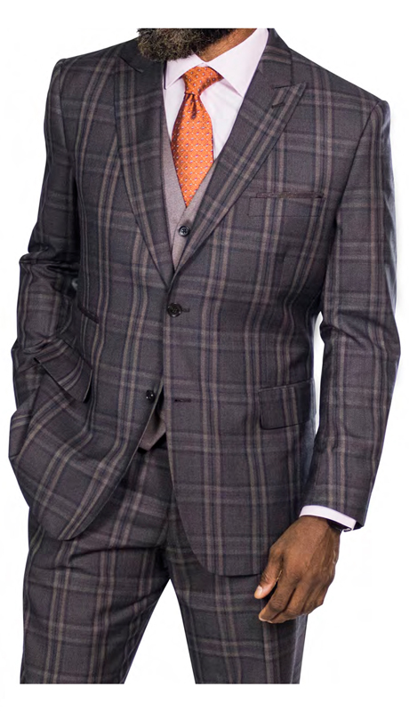 Steve Harvey 2188868-BR ( 3pc Suit With Vest, Super 140's )