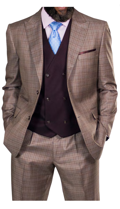 Steve Harvey 218870-TC ( 3pc Suit With Double Breasted Purple Vest, Super 140's )
