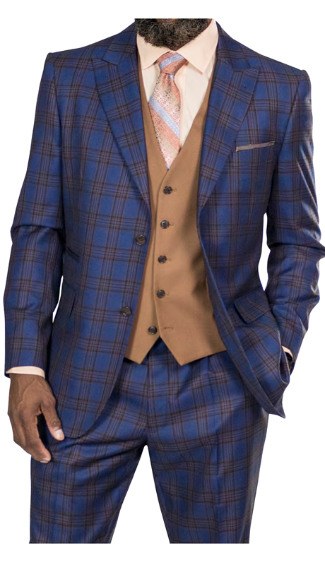 Steve Harvey 218875-BP ( 3pc Suit With Tan Vest, Super 140's )