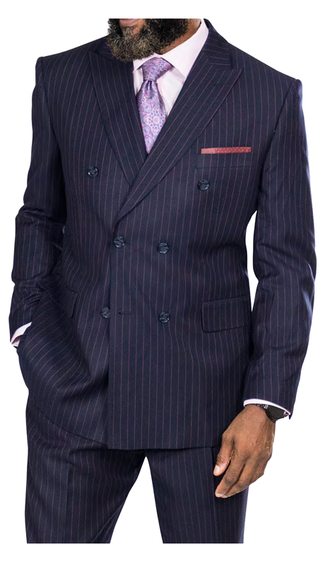 Steve Harvey 218876-BPS ( 2pc Double Breasted Suit, Super 140's )