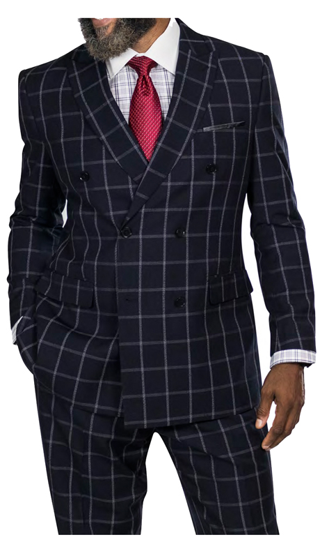Steve Harvey 218879-BP ( 2pc Double Breasted Suit, Super 140's )