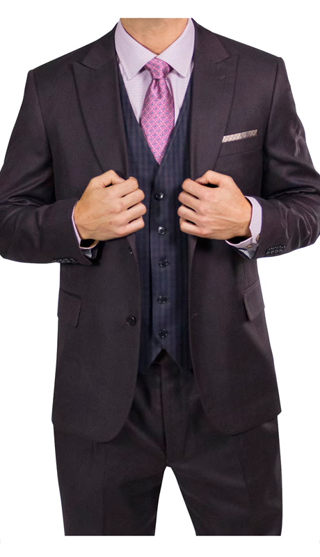 Steve Harvey 218883-ME ( 3pc Suit With Check Vest, Super 140's )