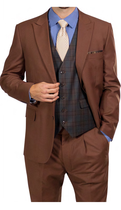 Steve Harvey 218884-RU ( 3pc Suit With Green Plaid Vest, Super 140's )