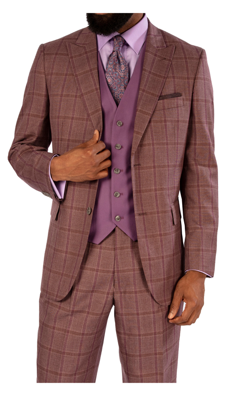 Steve Harvey 119723-MC ( 3pc Suit With Solid Vest, Super 140's )