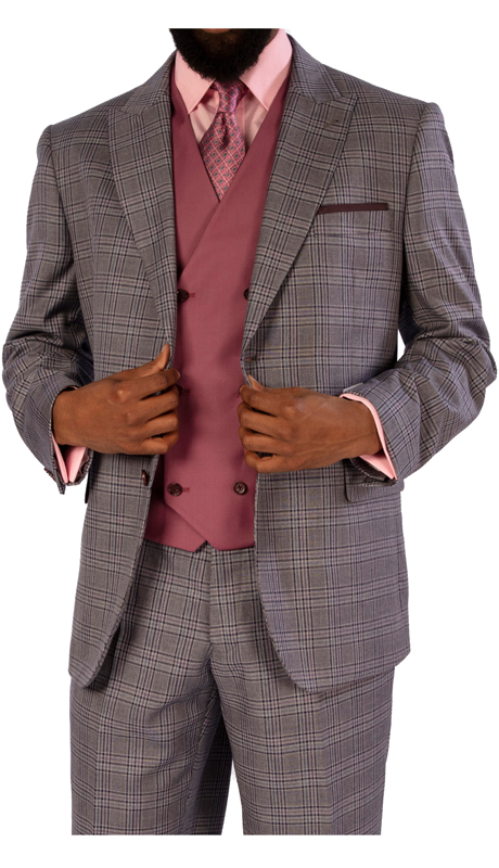 Steve Harvey 119724-GC ( 3pc Suit With Solid Color Vest, Super 140's )