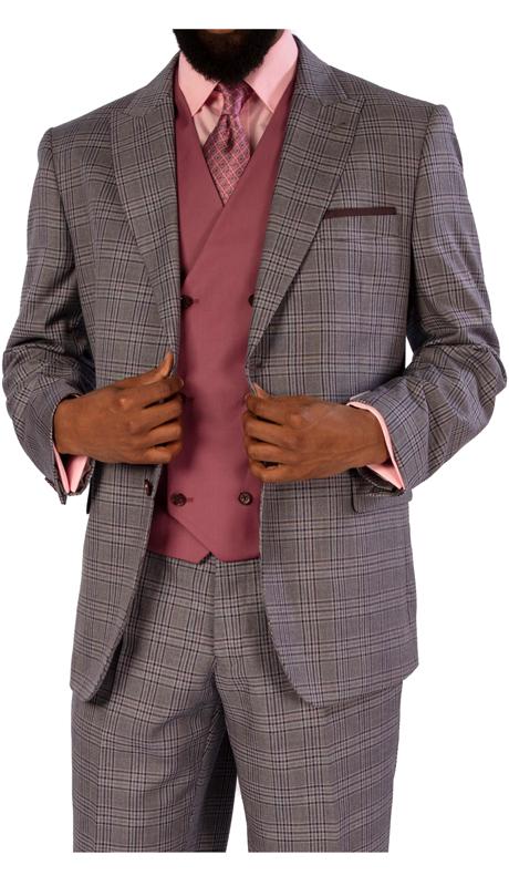 Steve Harvey 119724-GC ( 3pc Suit With Solid Color Vest, Super 140's )