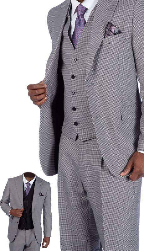 Steve Harvey 219700-GR ( 3pc Suit With Reversible Vest, Super 140's )