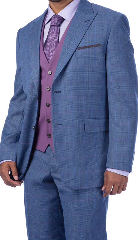 Steve Harvey 219711-BP ( 3pc Vested Suit Wth Purple Solid Vest, Super 140's )