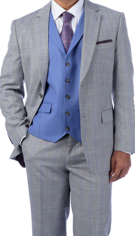 Steve Harvey 219712-GP-CO ( 3pc Vested Suit With Blue Solid Vest, Super 140's )