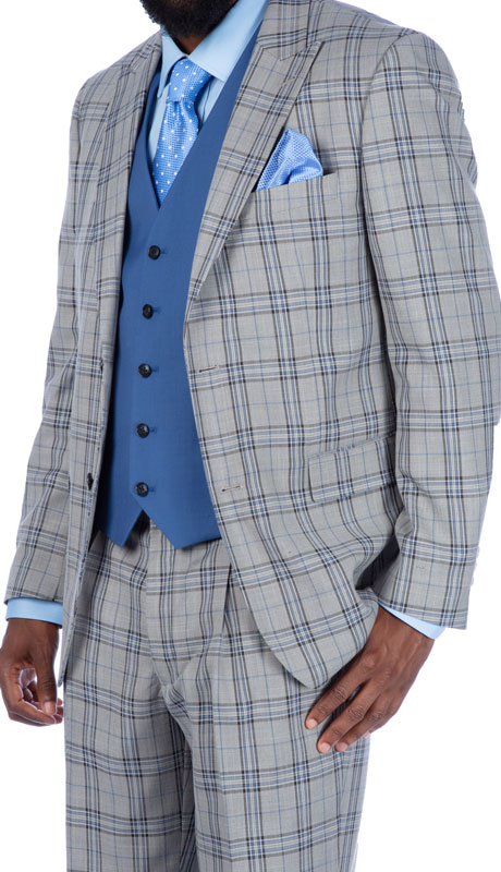 Steve Harvey 219714-GP ( 3pc Suit Wth Blue Solid Vest, Super 140's )