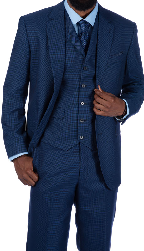 Steve Harvey 219701-BL ( 3pc Vested Suit, Super 140's )