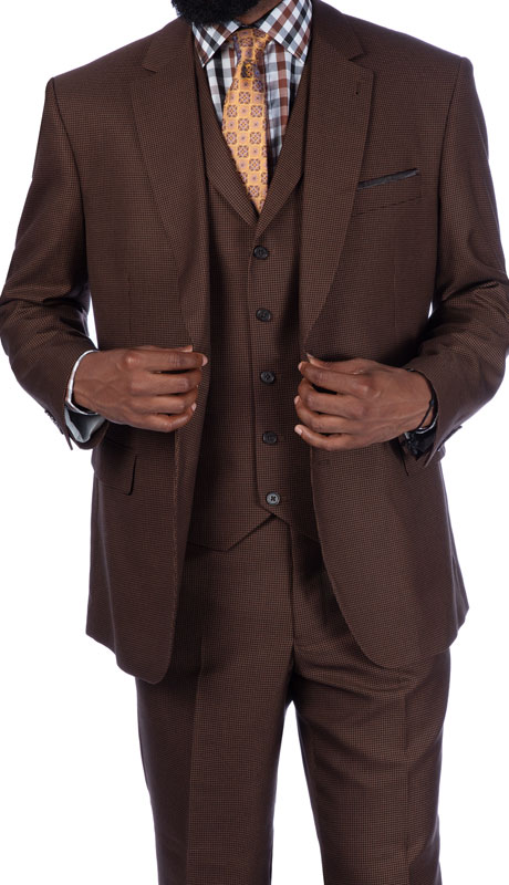 Steve Harvey 219702-BR ( 3pc Vested Suit, Super 140's )
