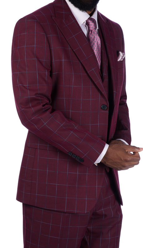 Steve Harvey 219705-PL-CO ( 3pc Vested Suit, Super 140's )