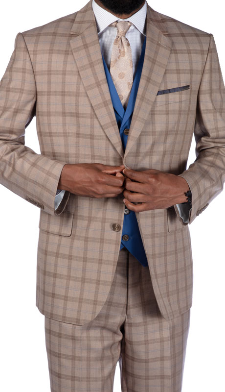 Steve Harvey 219707-TP ( 3pc Vested Suit Wth Blue Solid Vest, Super 140's )