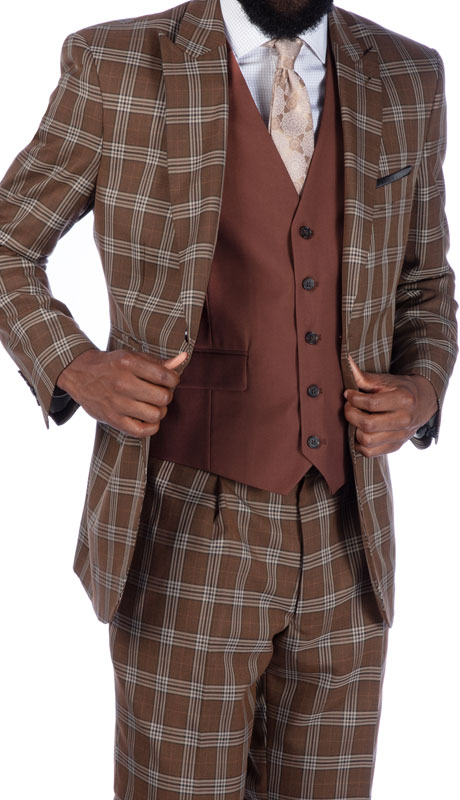Steve Harvey 219708-BP ( 3pc Vested Suit Wth Solid Brown Vest, Super 140's )